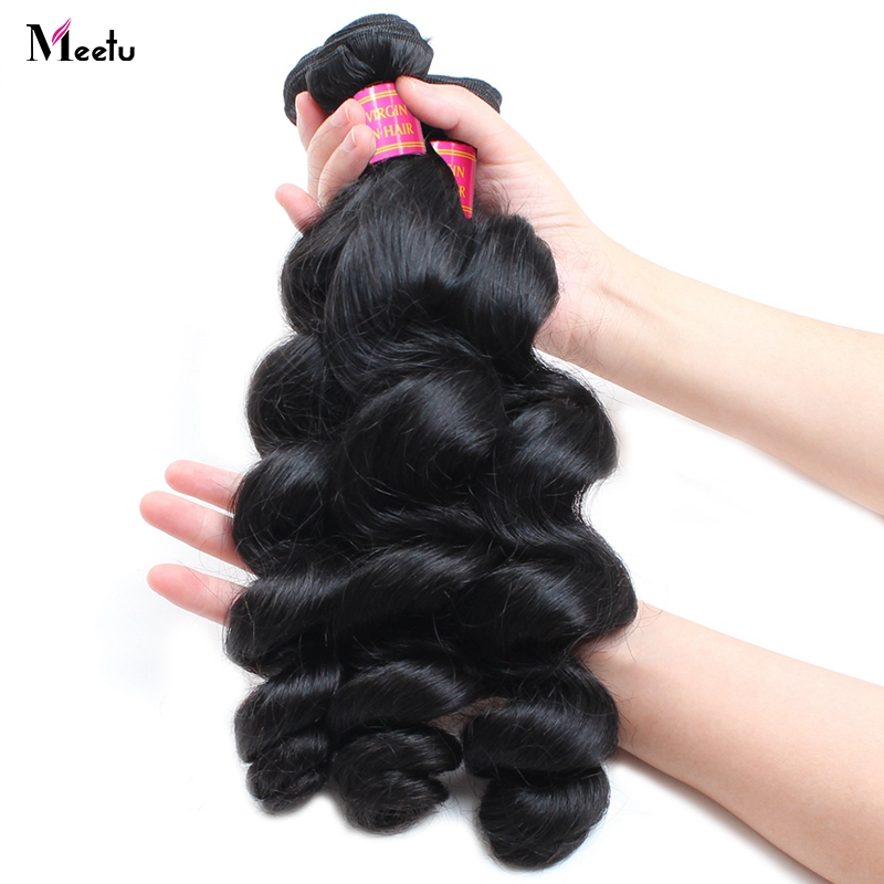 Meetu Malaysian Loose Wave Human Hair Bundles 1 Piece 100% Human Hair Extensions Non Remy Hair Natural Color Can Be Dyed Hair