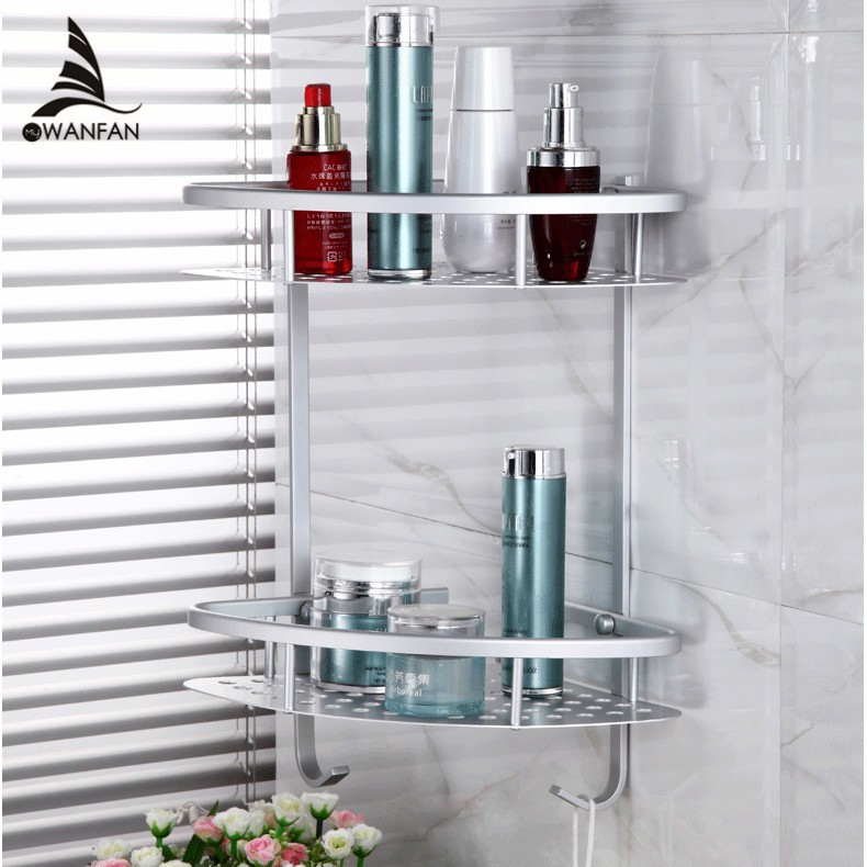 Bathroom Shelves 2 Tier Metal Wall Mounted Shower Corner Shelf Washing  Cosmetic Basket Bath Bathroom Accessories Towel Hook 2517