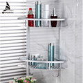 Hot sale popular Two Layer Bathroom Rack Space Aluminum Towel Washing Shower Basket Bar Shelf /bathroom accessories 2517