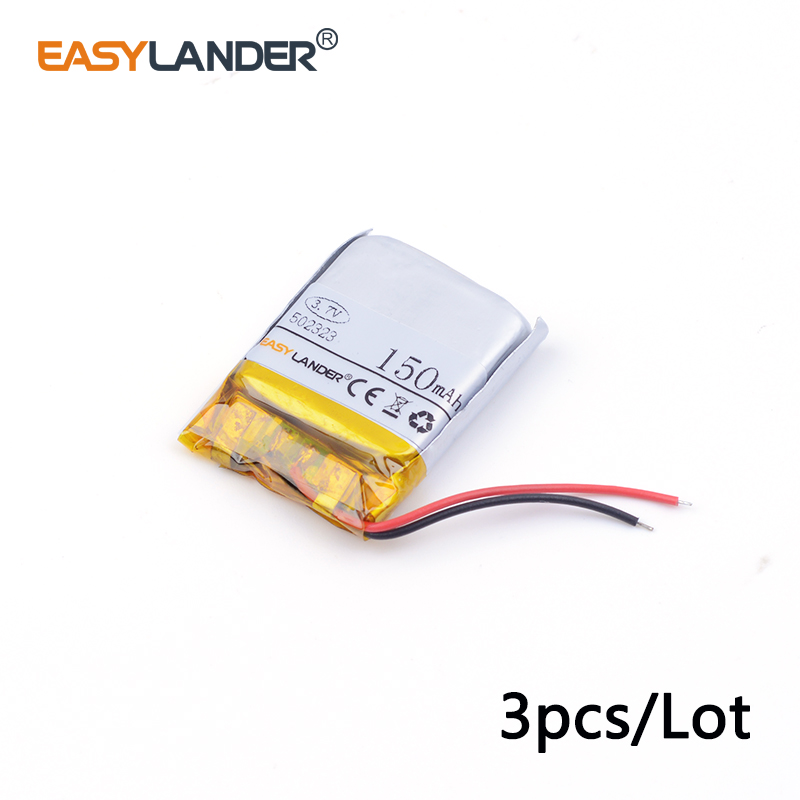 3pcs /Lot 502323 <font><b>150mAh</b></font> <font><b>3.7v</b></font> lithium Li ion polymer rechargeable batter lithium polymer battery for Smart devices,bluetooth spea image