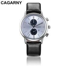CAGARNY 2106 new arrivals men's leather business watch 45mm dial calendar Male dress quartz watches , relojes hombre