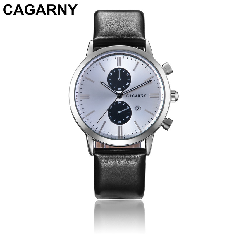 CAGARNY 2106 new arrivals men s leather business watch 45mm dial calendar Male dress quartz watches