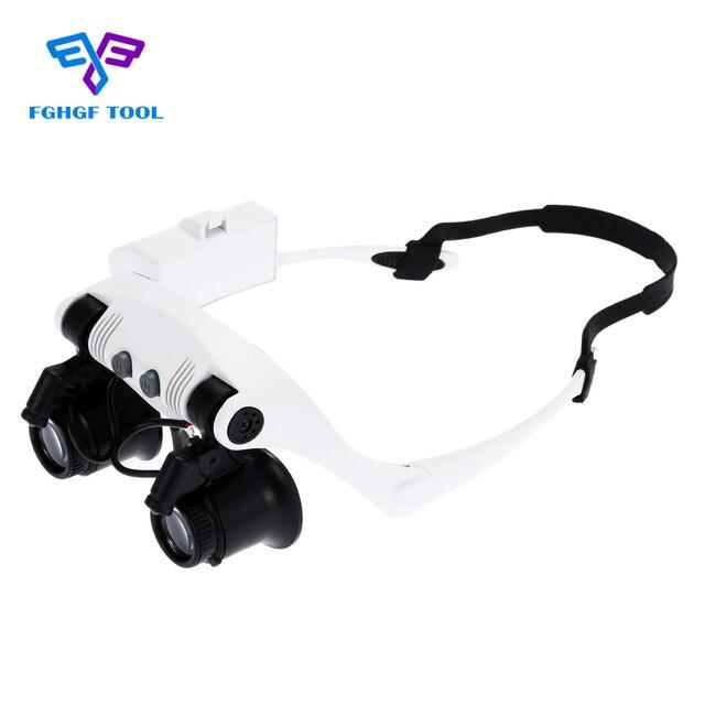 10X 15X 20X 25X FGHGF Usando Óculos Olhos Iluminado Lupa Lupa Assista  Reparação Lupa Com Luzes 3273a1f7f4