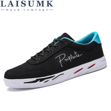 LAISUMK New 2019 Spring Summer Canvas Shoes Men Sneakers Low top Black Mens Casual Male Brand Fashion