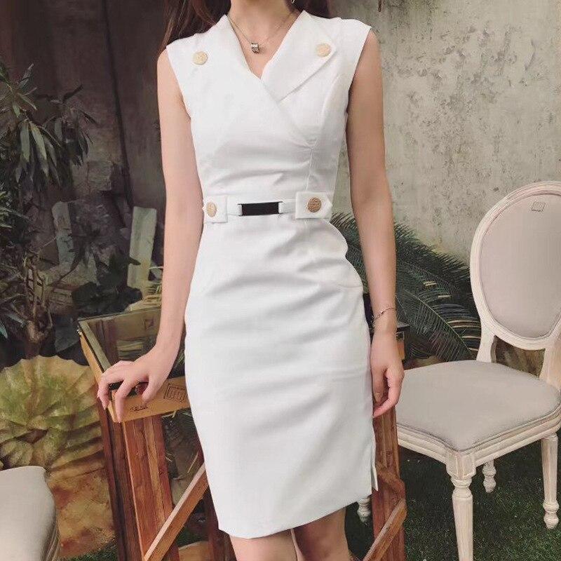 Alta Qualità 2017 Nuovo lusso CosMaMa Marca estate Noble elegant fashion Side of the abiti senza maniche per le donne bianche