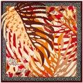 100 cm * 100 cm Mulheres 2016 Nova Moda Sarja De Seda Mão Pintura Folha Impresso Lenço Quadrado Venda Quente Grande xale