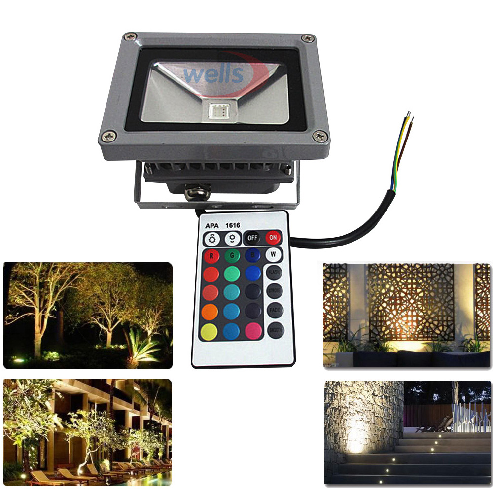 10 W LED lumière d'inondation blanc/blanc chaud/rouge/vert/bleu/rvb extérieur étanche IP65 projecteur multicolore + 24key IR télécommande AC 85-265 V