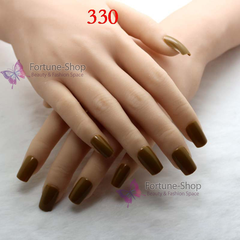 TKGOES 24pcs/set Candy Color Half Natural False Nails Free Double ...