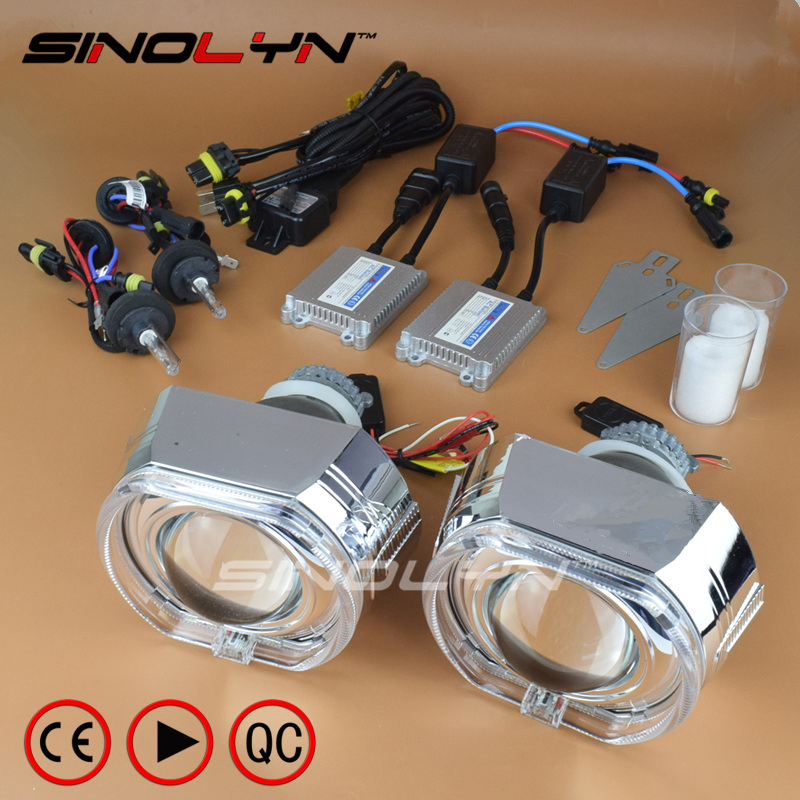 Sinolyn LED Angel Eyes Bi-xenon Lens Full Kit HID Projector Headlight 3.0 Q5 Lenses For H4 H7 9005 9006 Cars Accessories Tuning