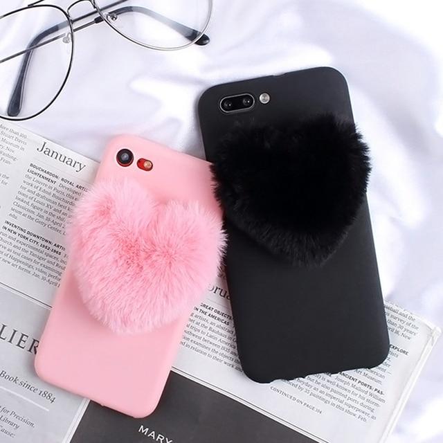 Fourrure Coeurs Damour Mignon cheveux pour Huawei Y5P Y6S Y6P Y7P Y8S Y8P Y9S Y7 2019 Y5 2018 Y7 Premier Y6 Pro 2017 Y9 2019 Couverture
