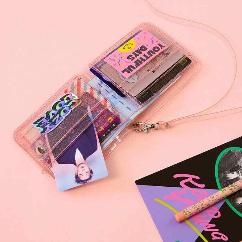 Bentoy Milkjoy Transprent Geléia Pescoço Halter Meninas Bolsa Da Moeda Da Carteira de Laser Ins Coréia Carta Titular do Cartão Saco de Embreagem Mulheres Carteiras