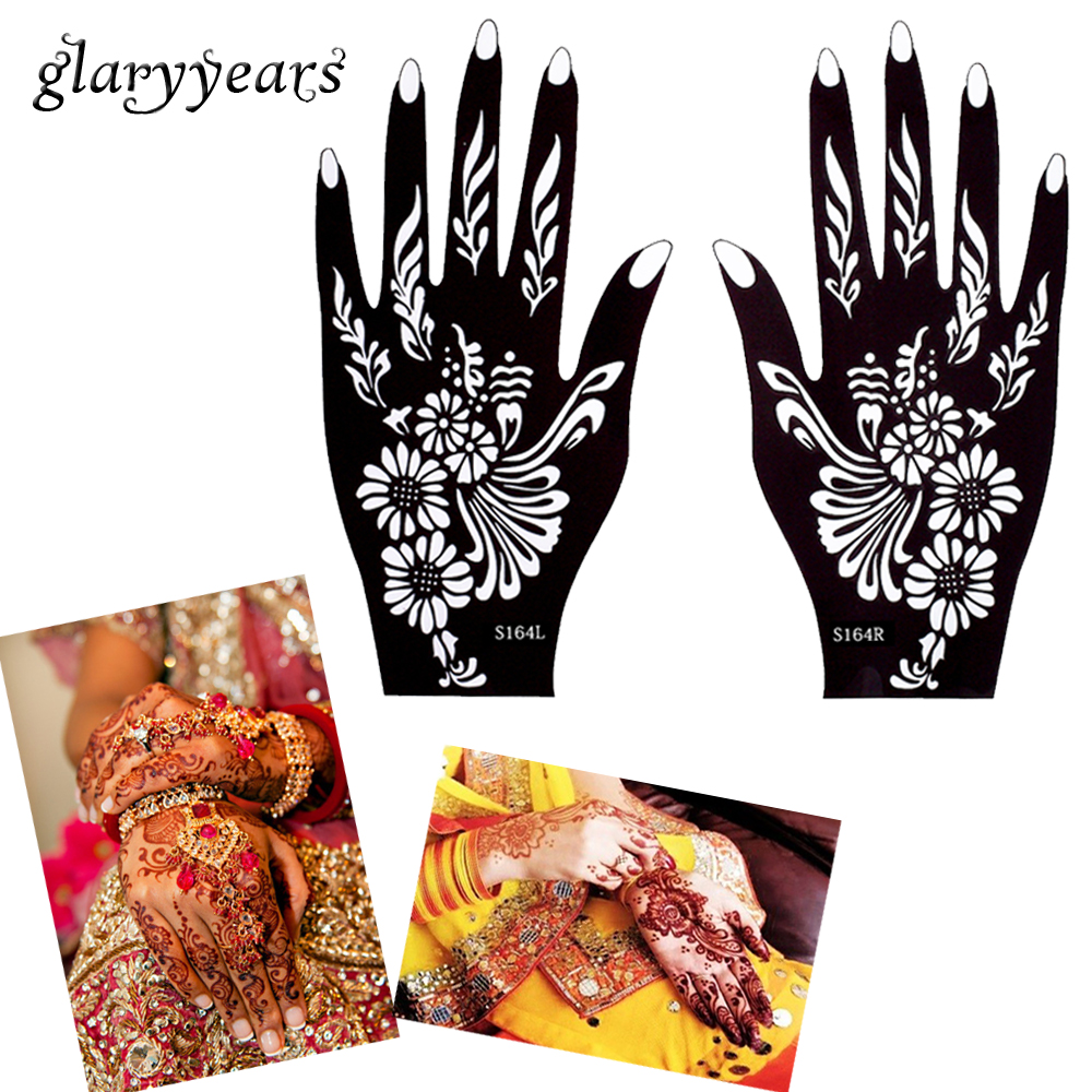 Glaryyears Designs Pair Hands Henna Stencil Glitter Colors Jpg 1000x1000 Hand Template Tattoo
