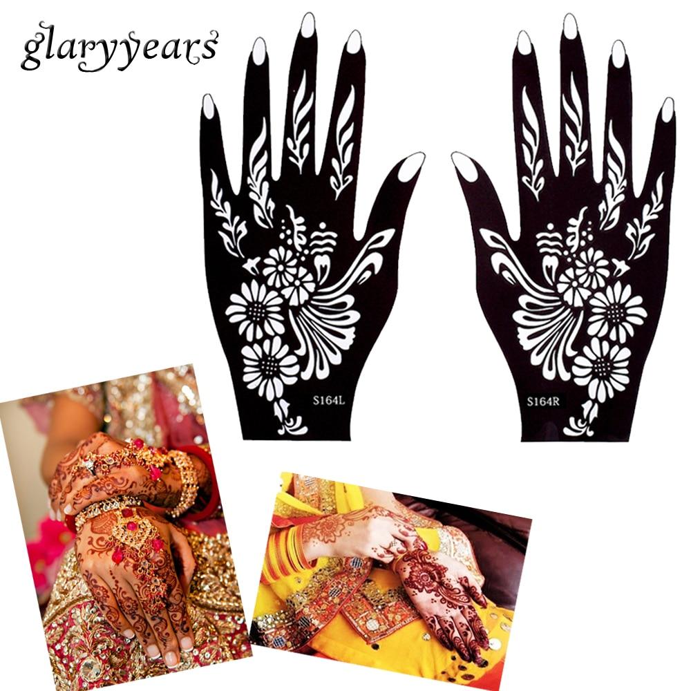 Glaryyears 32 Designs 1 Pair Hands Henna Stencil Glitter Colors Paste Drawing Tattoo Template Mehndi Arabic Indian