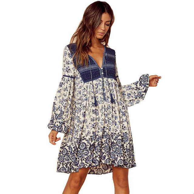 b63151220c8 Boho summer dress patchwork floral print tassel mini V-neck women dresses  long sleeve rayon chic bohemian 2018 vestidos