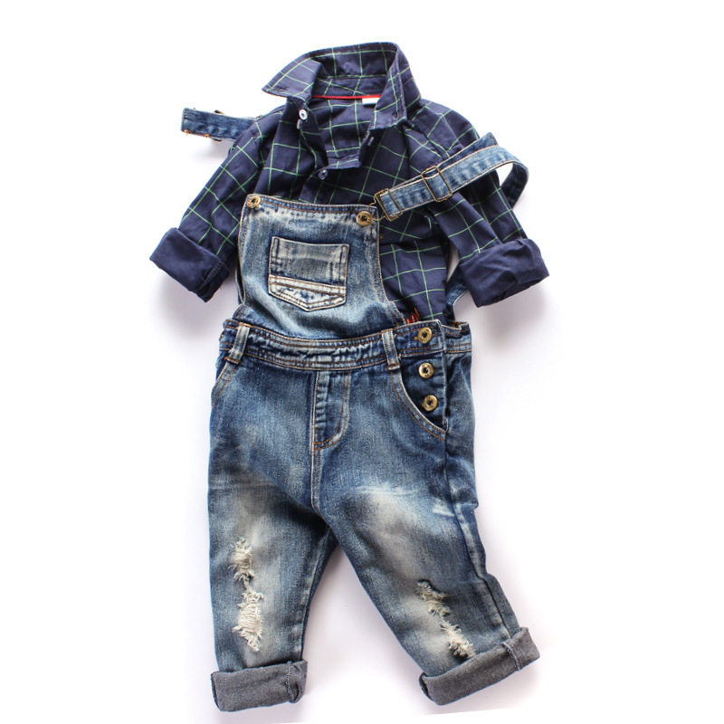 цена на SHUZHI New Arrive baby boys girls Denim Overalls Jeans kids Denim Jumpsuit Children Spring Autumn Long Pants High Quality Jeans