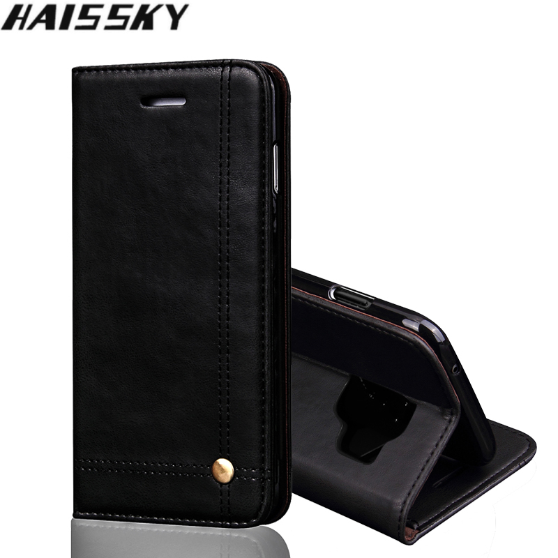 Lyxigt lädertelefonfodral för Samsung S10 S9 S8 Plus S10e - Reservdelar och tillbehör för mobiltelefoner