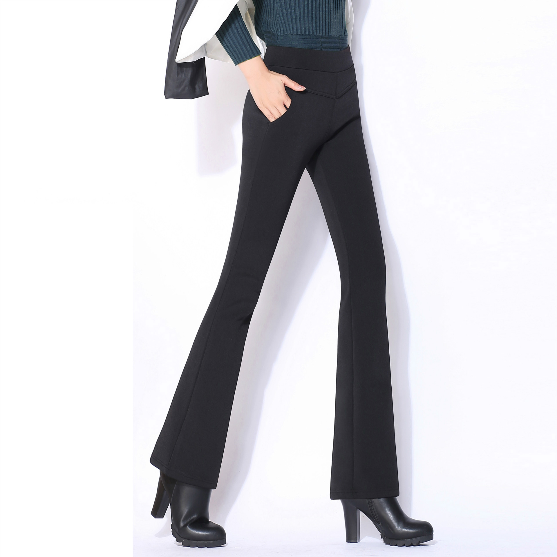 9cdd50376a51a Flared Pants Eastic Corduroy Boot Cut Pants Female Spring Plus Size 4XL  Wide Leg Trousers Women s High Waist Business s Legging-in Pants   Capris  from ...