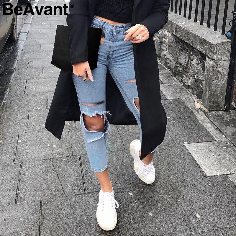 BeAvant High waist ripped   jeans   pants women Summer cool blue pencil   jeans   female Casual streetwear ladies denim pants capris