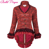 Belle Poque Vintage Victorian Płaszcze Kobiety Jesień Zima Czarny Czerwony Dekolt Żakardowe Koronki Up Retro Gorset Bombowiec Kurtka Znosić