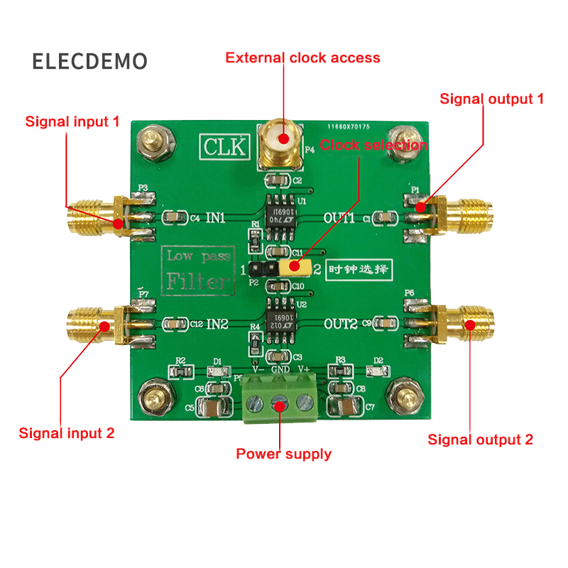 Image 2 - LTC1069 Module 8th order low pass filter Progressive Ellipse filter 2 Way Output  External clock Control Module demo board-in Demo Board Accessories from Computer & Office