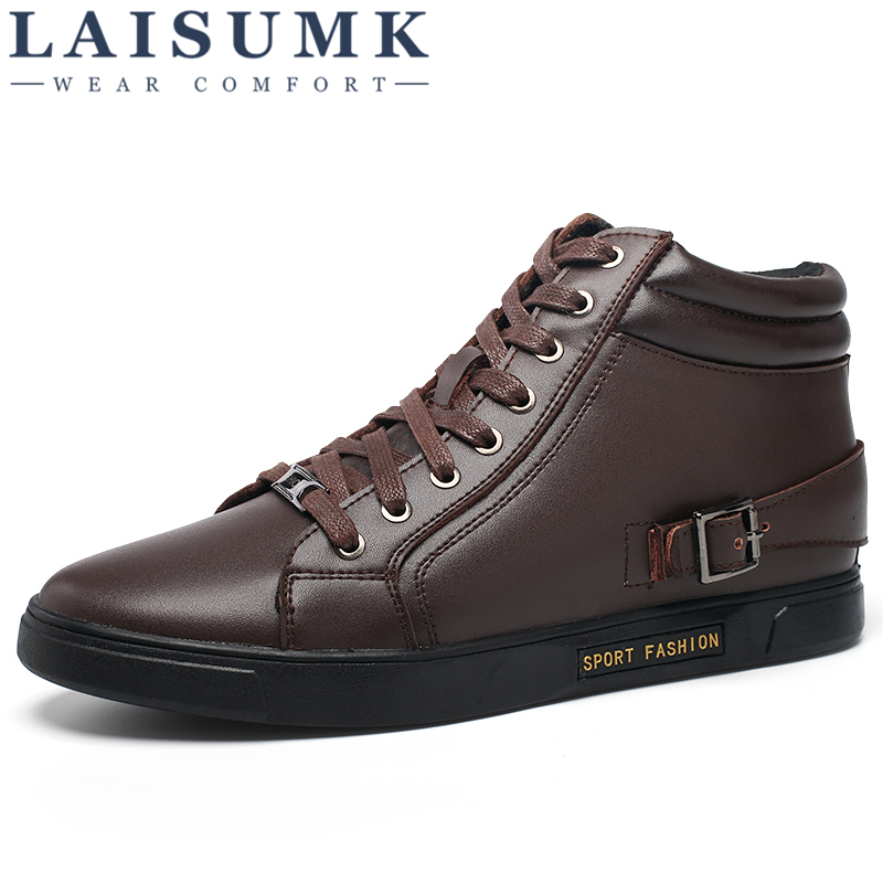 LAISUMK New Fashion Men Winter Genuine Leather Shoes Solid Color Snow Boots Plush Inside Antiskid Bottom Keep Warm Waterproof in Basic Boots from Shoes