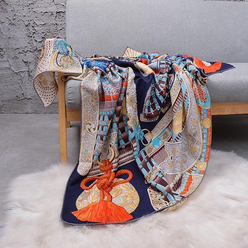 Luxury Silk Head Scarf For Women Fashion Print Cashmere Shawls Hijab Scarfs 140*140cm Square Neckerchief Scarves For Ladies 2019|Women