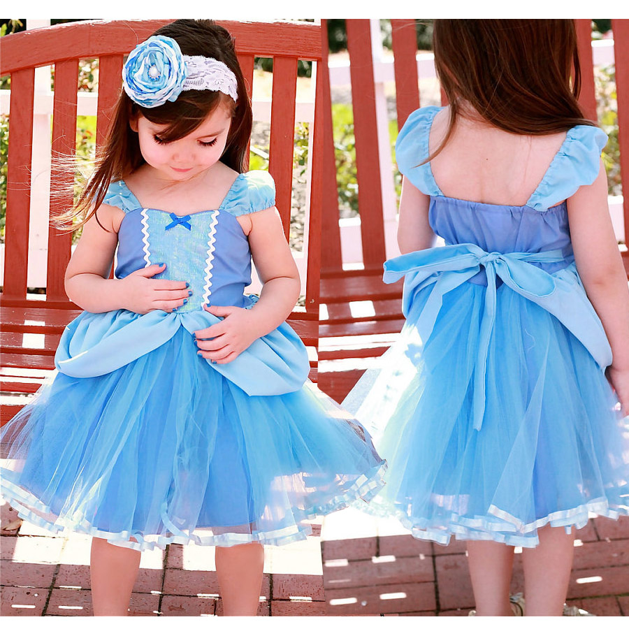 2018 Christmas Girls Baby Princess cinderella dresses Kids Party Costume Summer A-Line Sleeveless dress Vestidos Clothers new cinderella princess girl dress kids christmas dresses costume for girls party crown necklace fantasia dress kids clothes
