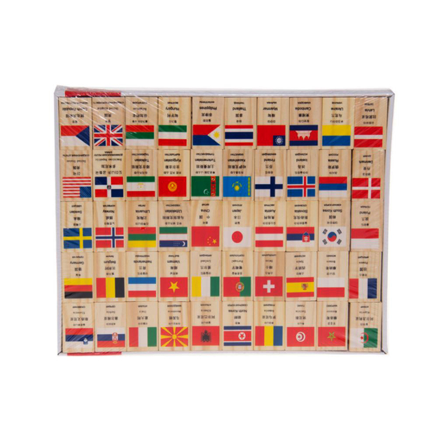 Cartão de madeira Mini 100 Peças/set Mundo Bandeiras Nacionais para Reconhecer o Mundo das Crianças Dominó Brinquedos Educativos T0.2