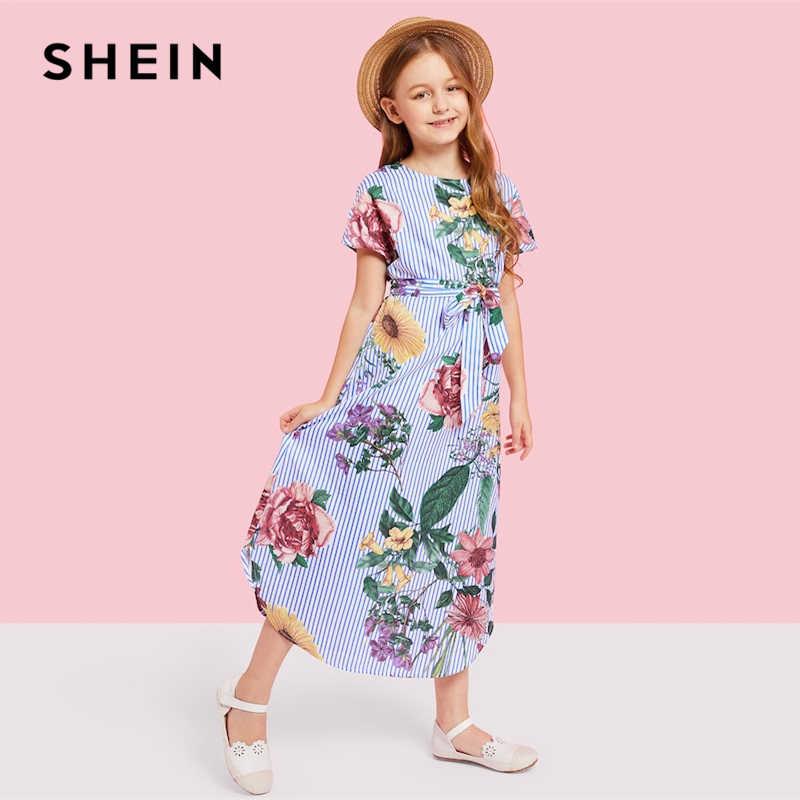 d751915612 ... SHEIN Girls Flower Print Striped Long Casual Dress Girls Clothes 2019  Spring Korean Fashion Short Sleeve