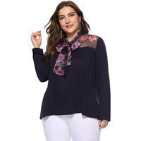 New Fashion Navy Blue Casual T Shirt Woman Plus Size High Neck Long Sleeve Basic Tshirt Patchwork Loose Tops Autumn Winter 2019