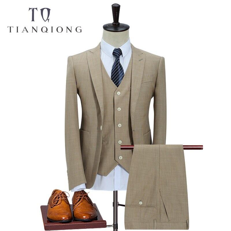 TIAN QIONG 100% Polyester Suits Men 2018 Slim Fit 3 Piece Business Wedding Suits Men Khaki Tuxedo Jacket Brand Mens Formal Suit
