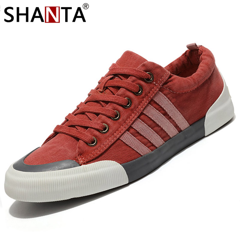 SHANTA Men Sneakers Shoes Vulcanized-Shoes White Solid-Color Fashion Lace-Up Canvas