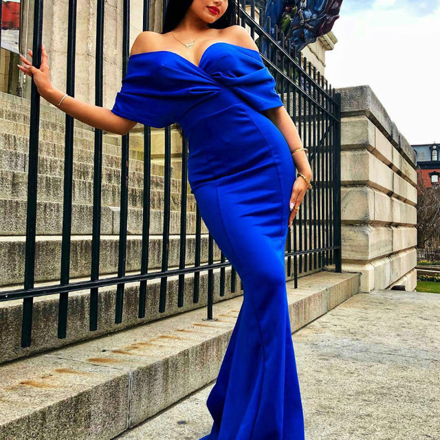 Women Maxi Dress Sexy Deep V-neck Off Shoulder Party Celebrate Sexy Evening Dating Night Out Dancing Long Package Hip Robe Tunic