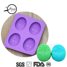 Atekuker Oval Tree Shape Silicone Soap Mold Handmade Soap Form Silicone Form For Soap Making Jelly Mould