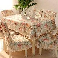 Cấp Cổ Điển tinh tế Hàng Đầu Polyester-bông ghế vải trải bàn ghế bao gồm Mục Vụ bao ren vải set khăn trải bàn