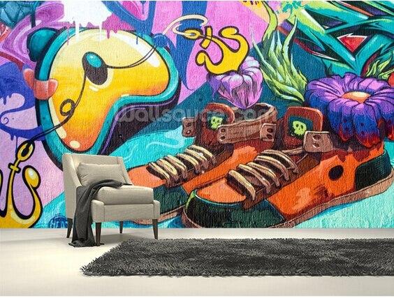 Custom papel de parede infantil graffiti trainers 3d - Graffitis en papel ...