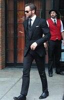 Черный Полосатый Для мужчин костюмы настроить Дизайн Бизнес Для мужчин официальная Вечеринка смокинги офисные Для мужчин s Блейзер комплек