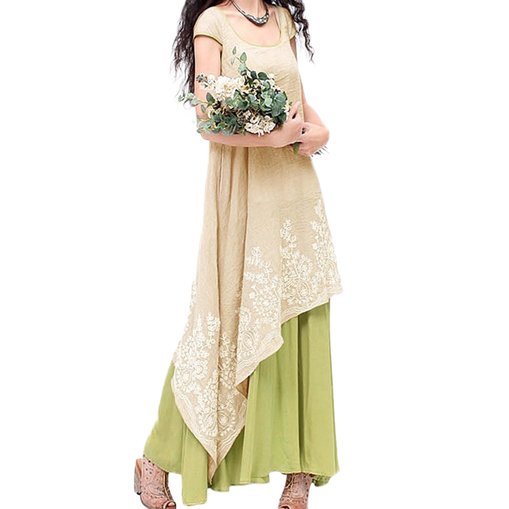EaseHut Boho Beach Summer Dress 2019 Elegant Vintage Floral Embroidery Tunic Maxi Long Dress to the Floor Plus Size Linen Dress