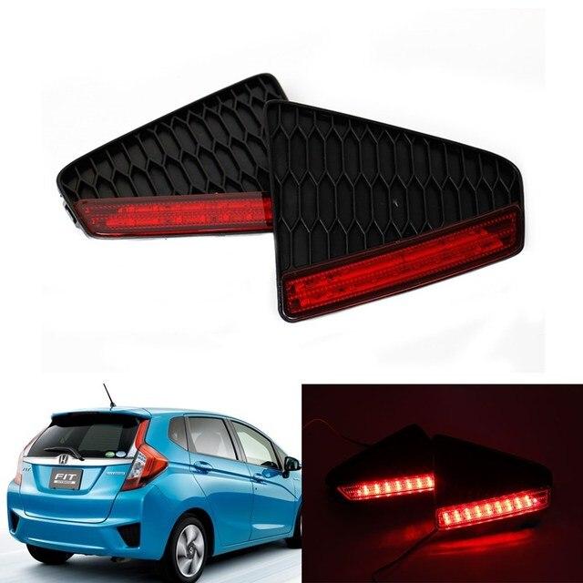 2x LED Car Fog Estacionamento styling Bumper Refletor Luz Traseira Vermelha aviso luz de freio parada cauda lâmpada para honda 2014-15 novo ajuste Jazz