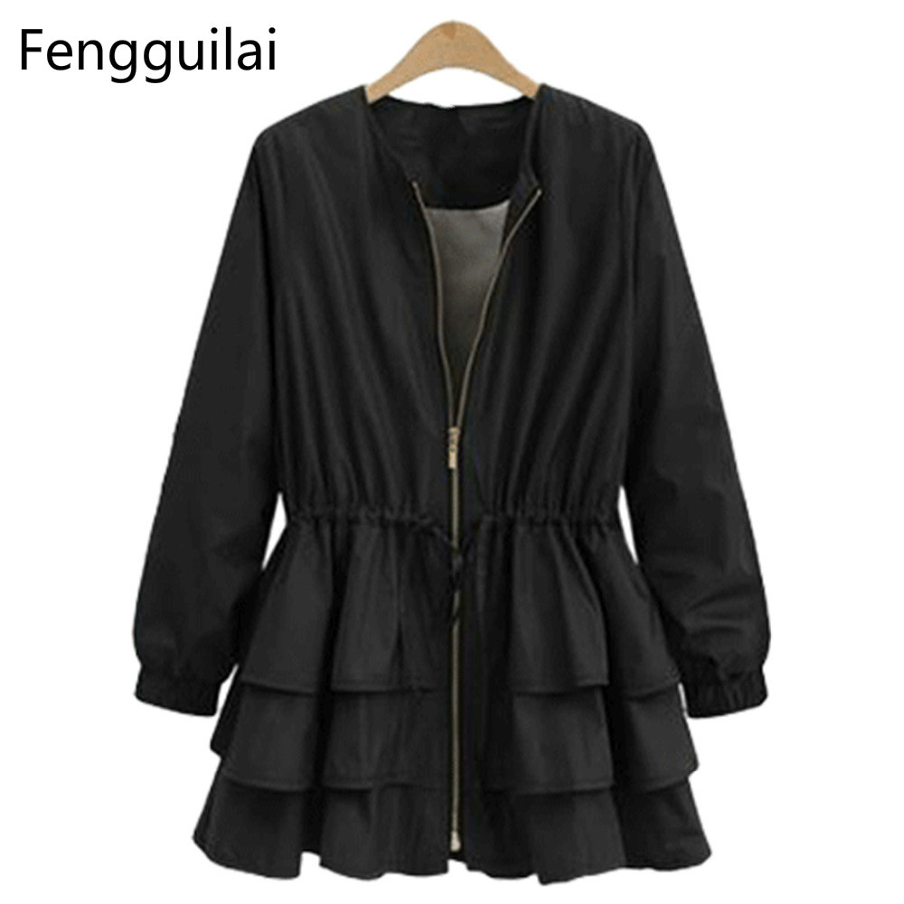 2018 Plus Size Ruffles Winter   Trench   Women Waistcoat Belt   Trench   Dress Outwear O Neck Patchwork Zipper Solid Casual   Trench   Coat