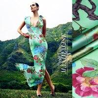 Jenny silkdouble LB Stretch Satinado cheongsam de impresión de la tela de seda de tela de seda material de la ropa [Yang] Peonía Verde