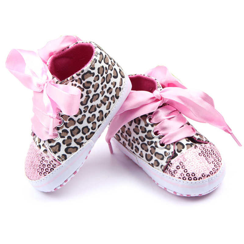 2019 Autumn Newborn Baby Girl Shoes Baby Sequin Sneakers Bling Leopard Toddler Lace Up Non-Slip Sneaker Shoes 0-12M