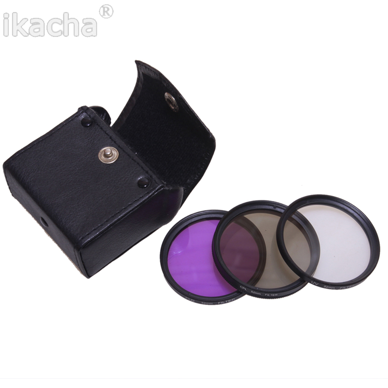 49mm 52mm 55mm 58mm 67mm 72mm 77mm Polarized CPL+UV+FLD Camera Filter Kit Bag For Nikon Canon Sony Pentax Lens светофильтр polaroid uv cpl fld warming 52mm набор фильтров pl4fil52