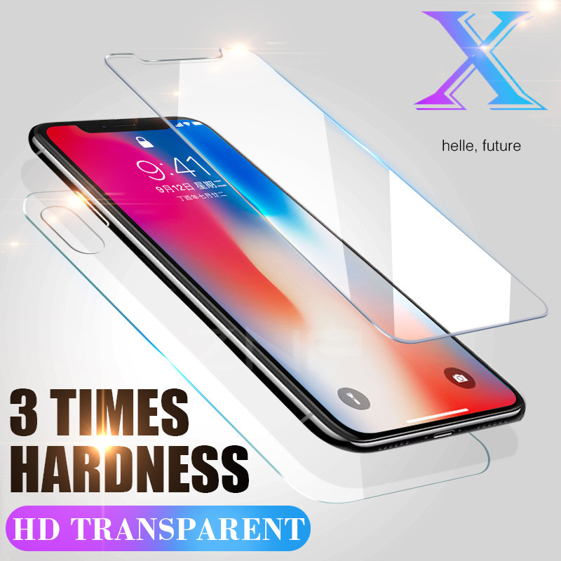 Galleria fotografica ZNP Front & Back Tempered Glass For Apple iPhone X 6 6S 7 8 Plus 5 5s SE Scratch Proof Rear Protective Glass Film