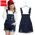 Fashion Ripped Low-Waist Denim Overall Shorts Women Loose Torn Low-Waist Overall Shorts For women Slim Short Jeans