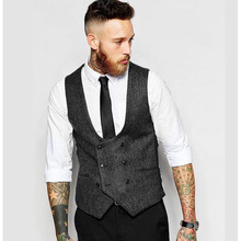 auguswu Custom Made New British Style Men's Vests Slim Woollen cloth Double Breasted Sleeveless Waistcoat Men Suit Vest