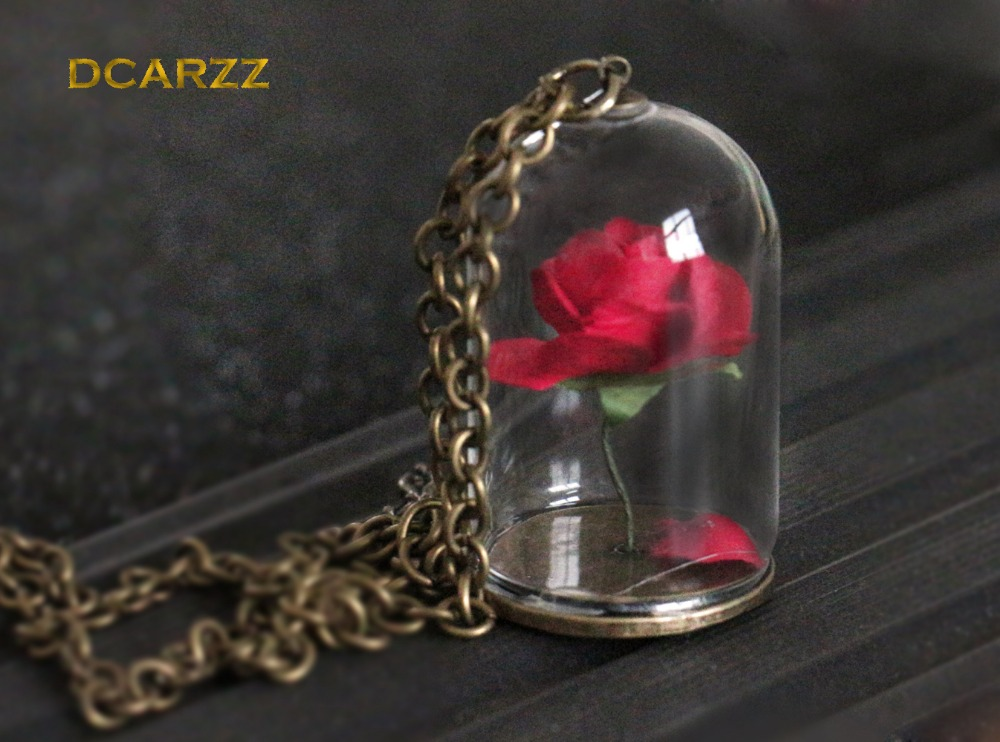 Beauty and the Beast Necklace Enchanted Rose in Terrarium Pendant Gold Bronze Plated Valentines Day Fairy