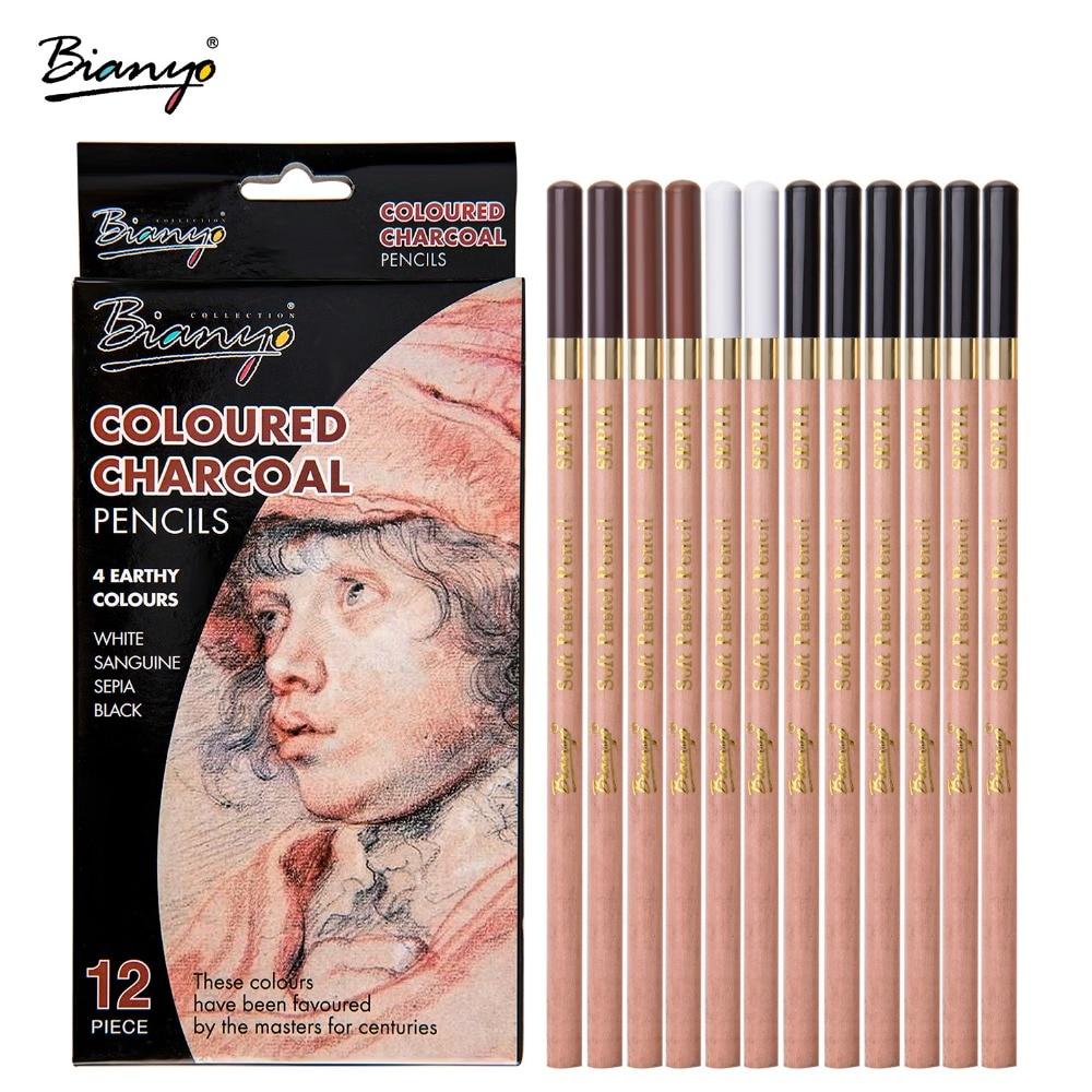 Bianyo 12 шт./кор. художественные мягкие пастельные карандаши, карандаши для угля, деревянные нетоксичные карандаши для набросок рисунок