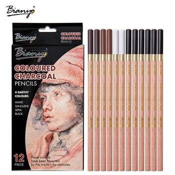 цена на Bianyo 12 Pcs/Box Artist Soft Pastel Pencils Crayon Charcoal Pencils Artiste Wooden Non toxic Pencil for Sketching  Drawing