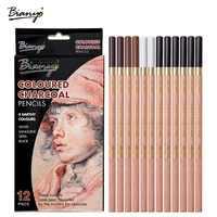 Bianyo 12 pièces/boîte Artiste doux Pastel crayons Crayon charbon de bois crayons Artiste en bois Non toxique Crayon pour croquis dessin